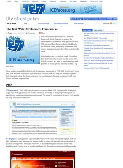 図3 Web開発のためのフレームワーク集