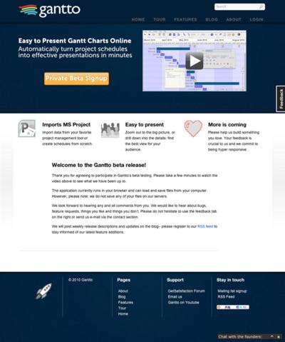 図6 プロジェクト管理のWebサービス,Gantto
