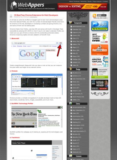 図3 WebデベロッパーのためのChrome用エクステンション集