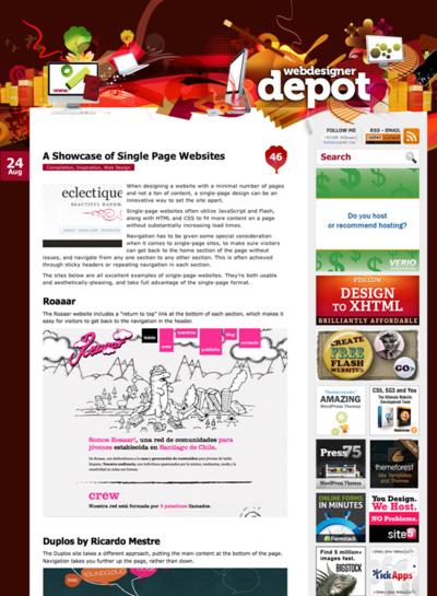 図5 1ページ完結型Webサイトのショーケース