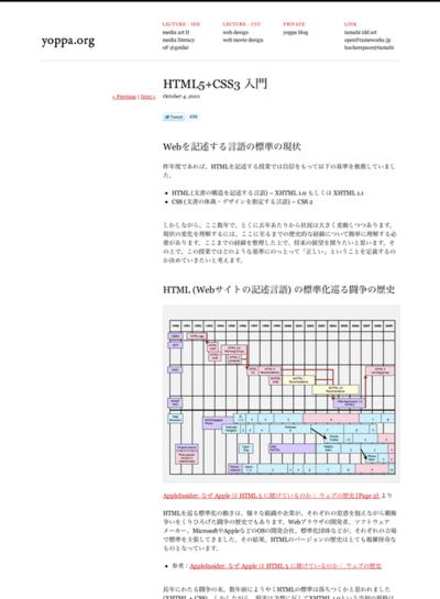 図1 HTML5とCSS3を学べる講義ノート