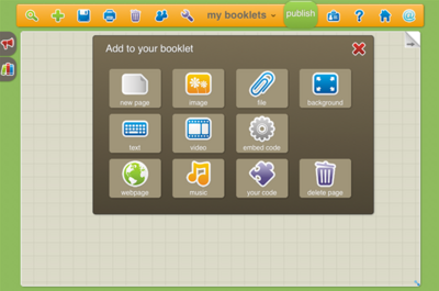 図7 Simplebookletで素材を追加する画面