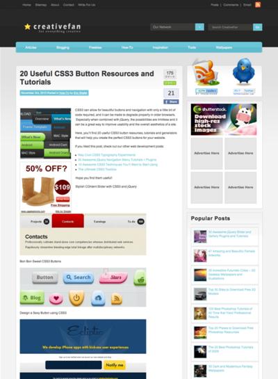 図5 CSS3ボタンの情報源とチュートリアル
