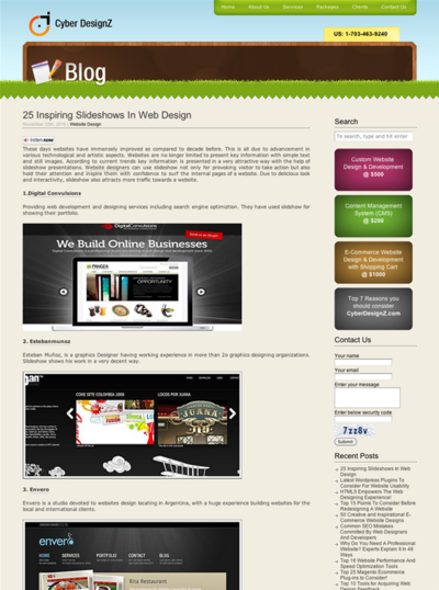 図4 スライドショーを使ったWebデザインのショーケース