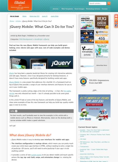 図5 jQuery Mobileで何ができるのかの紹介