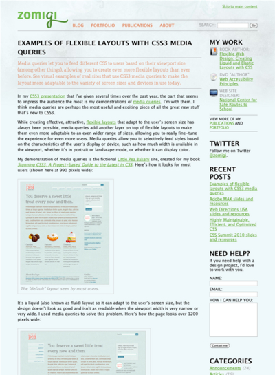 図1 CSS3メディアクエリによる可変レイアウトのサンプル集