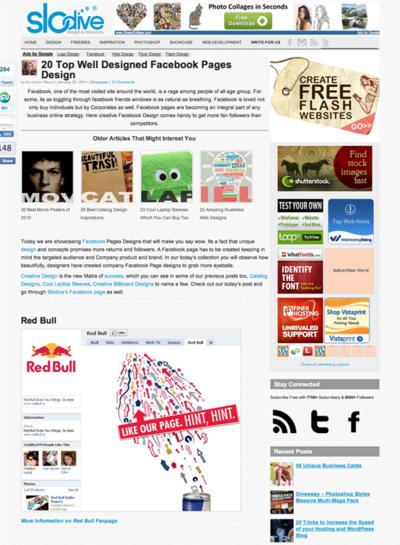 図1 Facebookの企業ファンページデザイン