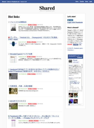 図6 Facebookでシェアされたリンクのランキングサービス