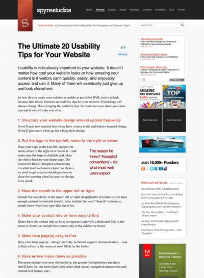 図2 Webサイトのユーザビリティのヒント