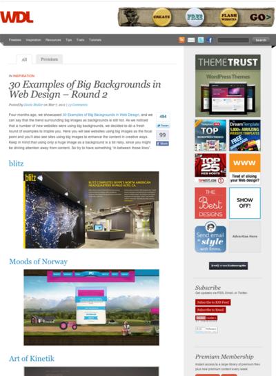 図5 大きな背景のWebデザインのギャラリー