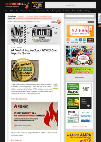 図4 HTML5を使った1ページ完結ポートフォリオページのギャラリー