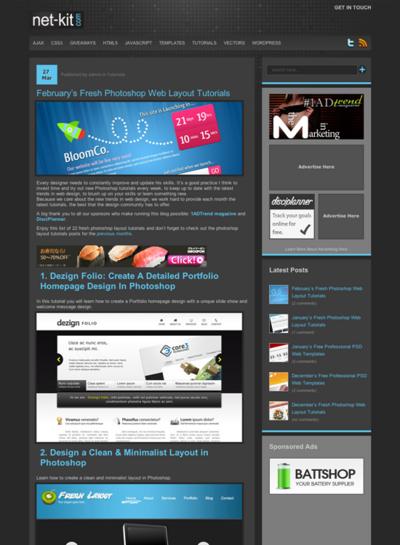図4 WebページレイアウトのためのPhotoshopチュートリアルいろいろ
