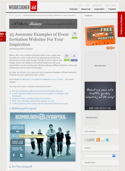 図5 イベント招待のWebデザインのギャラリー