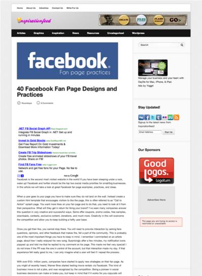 図3 Facebookページのデザイン例と情報源