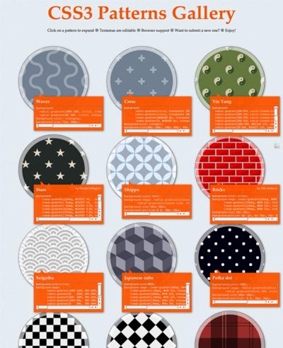 図4 CSS3で作ったパターン画像いろいろ