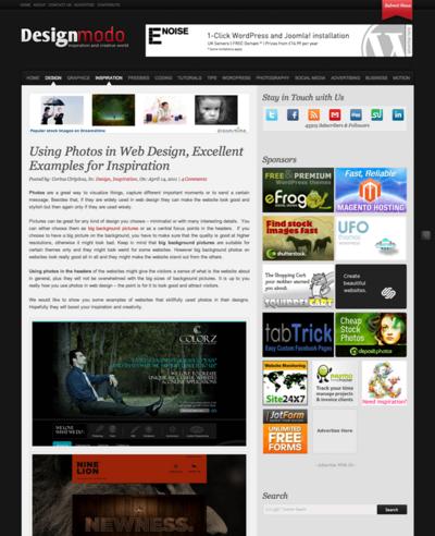 図5 大きな写真画像を使ったWebデザインのギャラリー