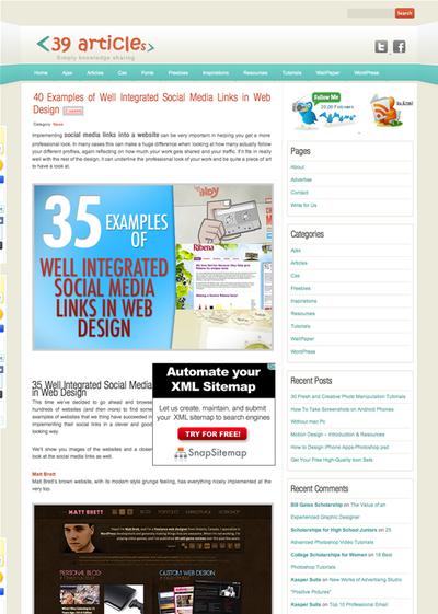 図2 Webデザインにおけるソーシャルメディアへのリンクの扱い方の例