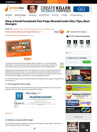 図3 Facebookページを作るのに役立つTipsとギャラリー