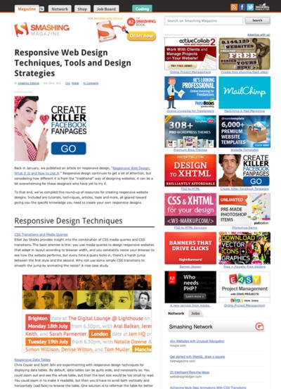 図1 レスポンシブWebデザインのテクニックやツールなど