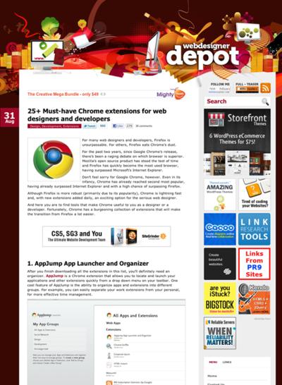 図4 Webデザイナー/デベロッパーのためのChrome用拡張機能