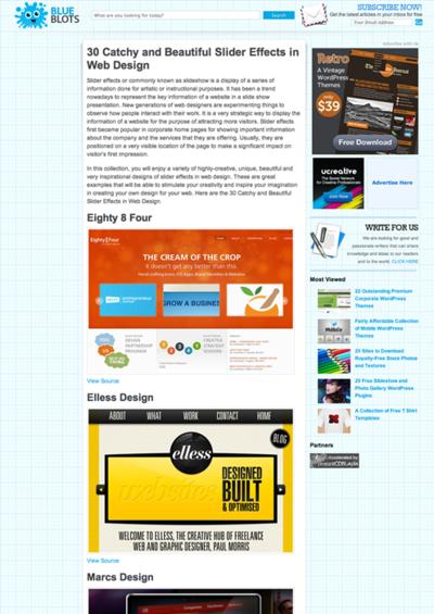 図4 スライダーを使ったWebデザインのギャラリー