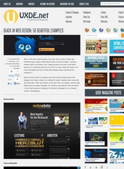 図5 黒色ベースのWebデザインのショーケース