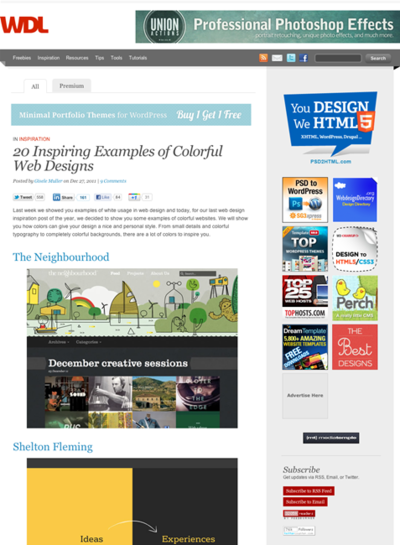 図4 カラフルなWebデザインのショーケース