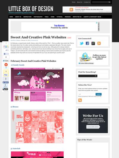 図5 ピンク色を使ったWebデザインのギャラリー