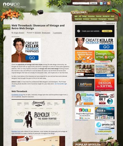 図4 ビンテージ&レトロなWebデザインのショーケース