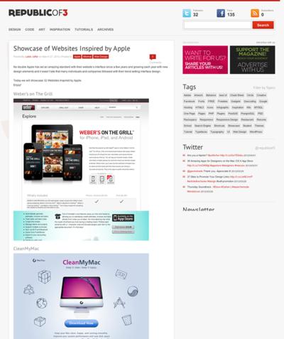 図5 Appleの影響を受けているWebサイトのギャラリー