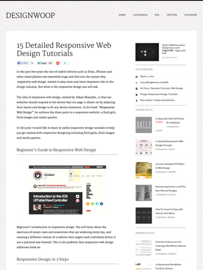 図1 レスポンシブWebデザインのチュートリアル記事のまとめ