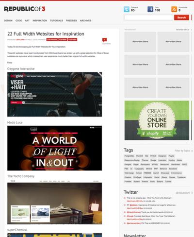 図4 横幅いっぱいまでコンテンツが広がるWebデザインの作例多数