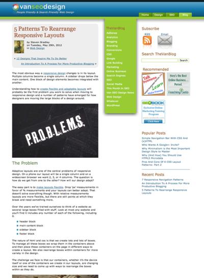 図1 レスポンシブWebデザインの5つのパターン