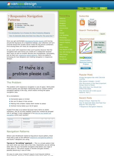 図1 レスポンシブWebデザインの7つのナビゲーションパターン