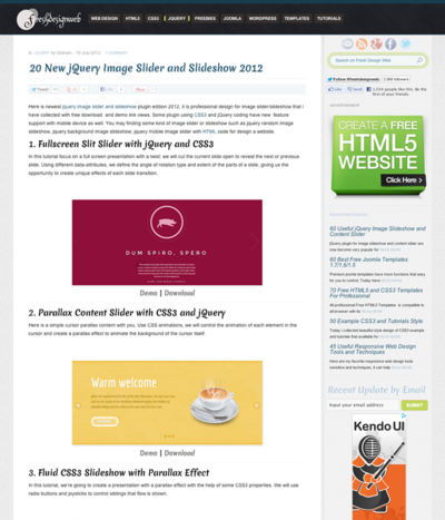 図3 jQueryを利用した画像スライダーやスライドショー