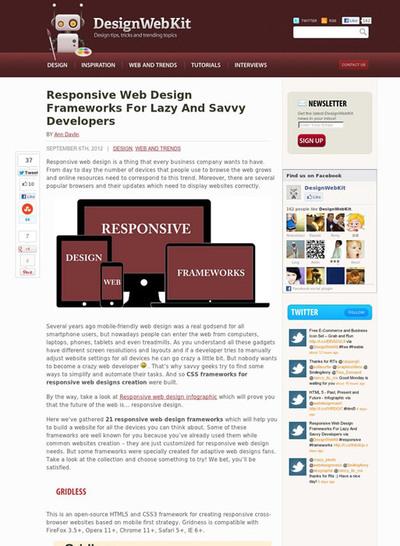 図2 レスポンシブWebデザインのフレームワーク20選