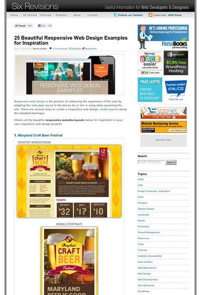図4 レスポンシブWebデザインを使ったサイトのショーケース