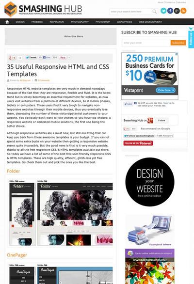 図5 レスポンシブなHTMLとCSSのテンプレートいろいろ
