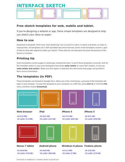 図4 手書きワイヤーフレーム用のテンプレート集
