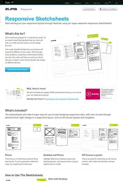 図3 レスポンシブWebデザインの手書きスケッチ用紙