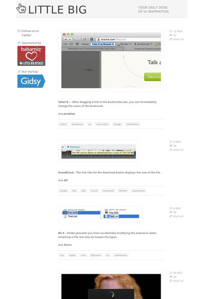 図3 ユーザーインターフェイスの細かいこだわりを集めたサイト