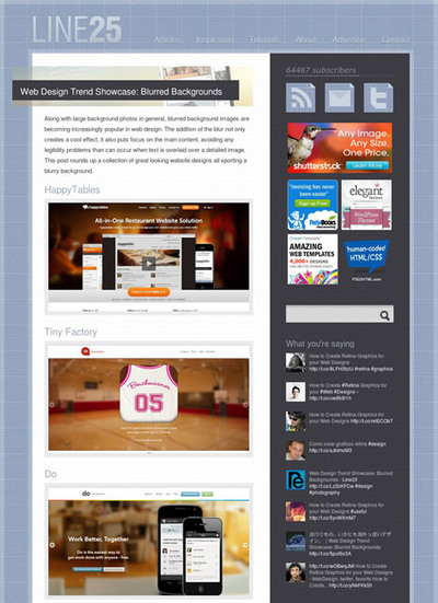 図5 ぼかした画像を背景に使ったWebデザインのショーケース