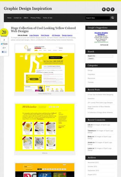 図5 黄色を使ったWebデザインのギャラリー