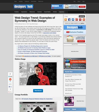 図3 左右対称型のWebデザインのギャラリー