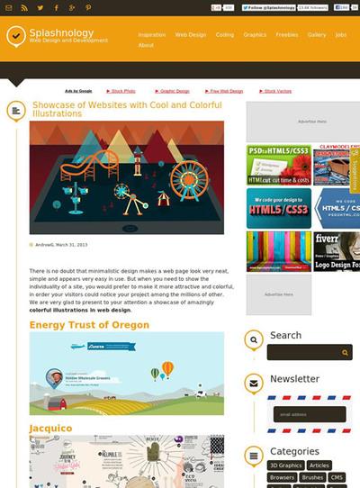 図4 カラフルなイラストが全面的に使われたWebサイトのギャラリー