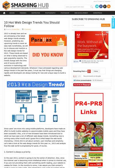 図1 2013年のWebデザインのトレンド