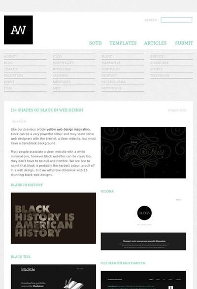 図5 黒ベースのWebデザインのギャラリー