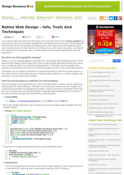 図4 Retina対応Webデザインのツールやテクニック