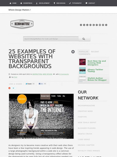 図5 透明度を使ったWebデザインのギャラリー