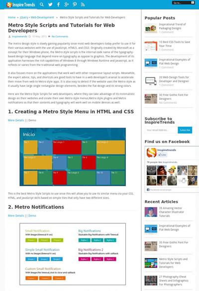 図3 メトロスタイルのWebデザインのためのスクリプトやチュートリアルいろいろ